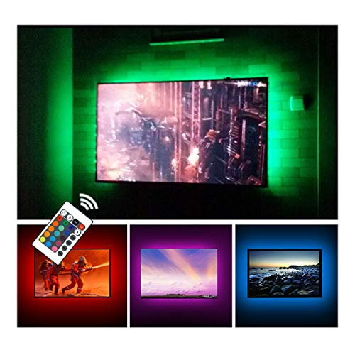 USB TV Backlight LED Strip Lights Kit for 24 to 60 inches Smart TV Sony LG Monitor, HDTV Wall Mount Stand Work Space Gaming Room Decor, LED Bias Ambient Mood Lighting (Best Small Man Caves)