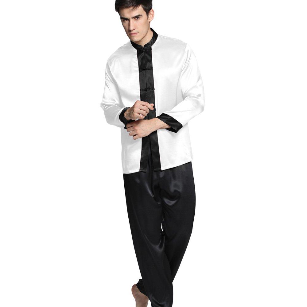 LilySilk (リリーシルク)メンズパジャマ シルク ドラマチック ナイトウェア  メンズフルレングス   高級シルク100%  ギフトにも最適  着心地抜群 OEKO認証済み【 ドラマチック/22匁】 B00O5Q3X2M M ホワイト ホワイト M