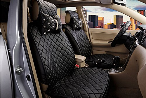 18pc superior quality luxury black Seat Covers imitation leather Seating Universal Full Set car seat cover Easy to install Fit Most Car by Maimai88 (Image #3)