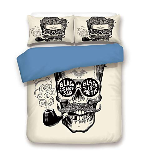 Duvet Cover Set Queen Size, Decorative 3 Piece Bedding Set with 2 Pillow Shams,Hipster Gentleman Skull with Mustache Pipe and Eyeglasses with Inscription Vintage