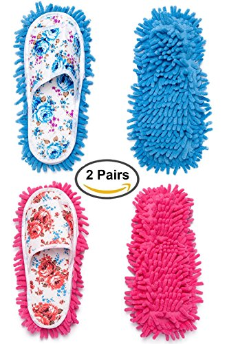 Mop Slippers - 2 Pairs Microfiber Slipper Cleaning Mop Slippers Washable Detachable House Shoe Cover Dust Floor Cleaner for Bathroom Office Kitchen, Blue + Pink