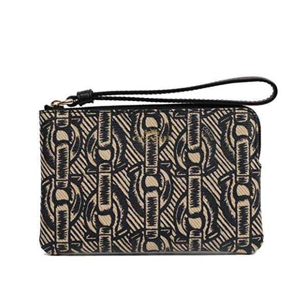 Coach Crossgrain Leather Corner Zip Wristlet Wallet (Black),
