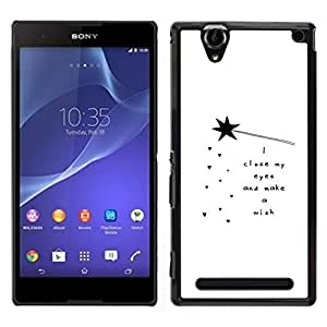 // PHONE CASE GIFT // Duro Estuche protector PC Cáscara Plástico Carcasa Funda Hard Protective Case for Sony Xperia T2 Ultra / Quote Poem White Black Motivational /