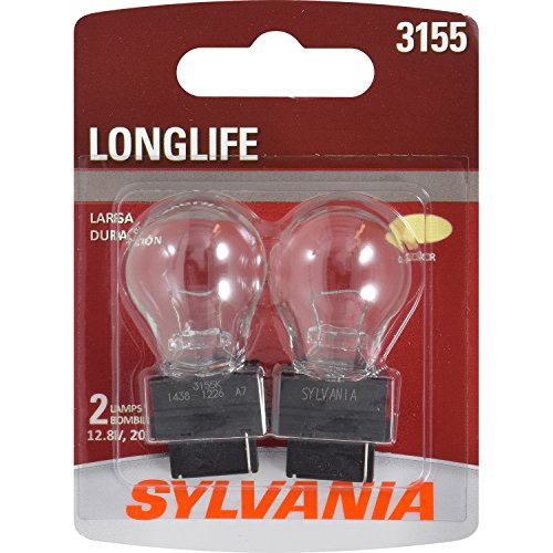 SYLVANIA - 3155 Long Life Miniature - Bulb, Ideal for Daytime Running Lights (DRL) and Back-Up/Reverse Lights (Contains 2 Bulbs)