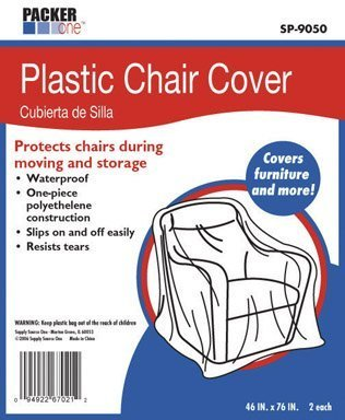 AllBoxes Direct SP-9050 Plastic Chair Cover Protection For All Your Moving & Storage (Pack of 2) (Chair Plastic Covers Patio)
