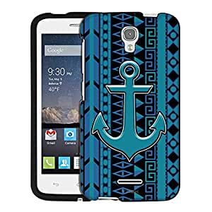 Alcatel OneTouch Pop Astro Case, Snap On Cover by Trek Anchor on Aztec Vertical Blue Aqua on Black Case