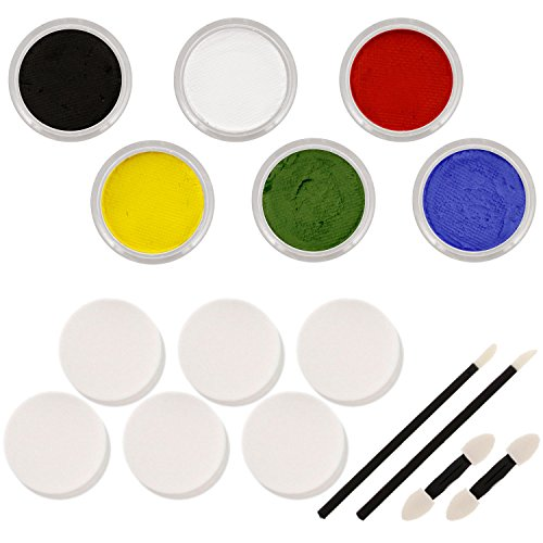 lor Pro Face Paint Primary Color Set. Large 10-ml Jars with Applicator Kit. A Full 6 Color Rainbow Pallet, Perfect for Face Painting At Any Children's Party or Halloween ()