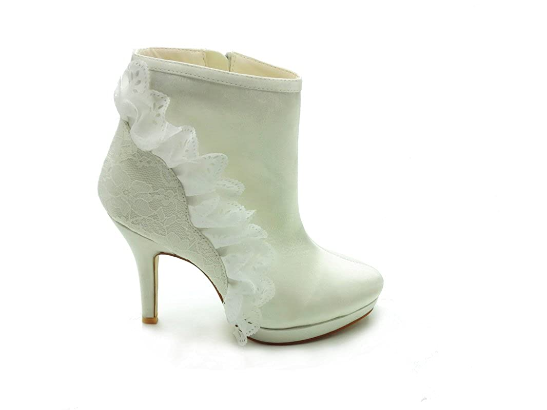 JIA Spitze JIA Damen Brautschuhe 37018 Geschlossene Zehe Stilett Hacke Spitze JIA Satin Plattform Stiefel Reißverschluss Hochzeitsschuhe 31b0e0