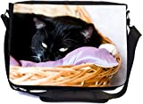 Rikki Knight Black Cat On Lavender Satin Pillow in Basket Design Premium Messenger Bag - School Bag - Laptop Bag - with Padded Insert for School or Work - with Matching Pencil Case