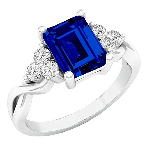 Dazzlingrock Collection Sterling Silver 8X6 MM Lab Created Blue Sapphire & White Sapphire Engagement Ring, Size 7
