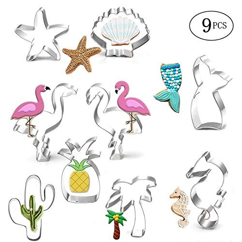 Palm Tree Cookie - Cookie Cutter Set-9 Piece-Mermaid,Starfish,Seashell,Seahorse,Cactus,Pineapple,Flamingo,Palm Tree,Stainless Steel Cookies Molds for Summer Tropical Beach Party Supplies Decoration Handmade Cookie (1)