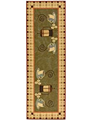 Ottomanson Siesta Collection Kitchen Coffee Cups Design Machine Washable Non Slip Runner Rug 20 X 59 Dark Olive Green