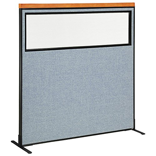 60-1/4''W x 61-1/2''H Deluxe Freestanding Office Partition Panel with Partial Window, Blue by Global Industrial
