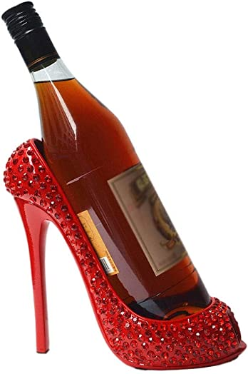 Innovative High Heel Wine Rack Resin Wine Bottle Display Stand Home Living Room Hotel Table Decoration Wedding Ornament Color : Red