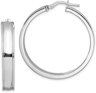 925 Sterling Silver Rhodium-plated Polished Beveled Edge Hoop Earrings