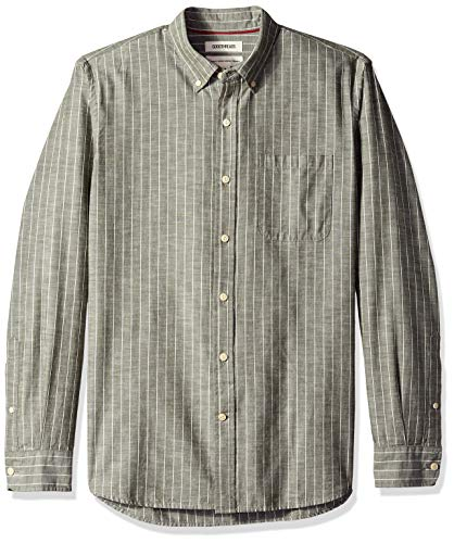 Goodthreads Men's Standard-Fit Long-Sleeve Pinstripe Chambray Shirt, -olive stripe, Large Tall ()