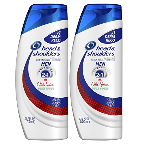 Head and Shoulders Shampoo and Conditioner 2 in 1 Anti Dandruff for Men, Old Spice Pure Sport, 23.7 Fl Oz (Pack of 2) (1 2in Dandruff Shampoo)