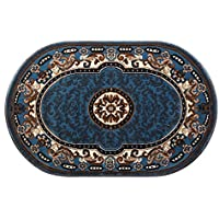 Traditional Oval Area Rug Design Kingdom D 123 Blue (3 Feet X 4 Feet 7 Inch) Oval
