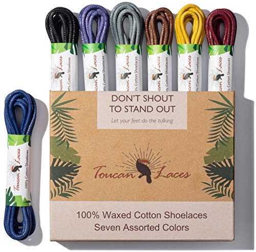 Toucan Laces Dress Shoe Laces for Men in [7 Pairs] of Round Waxed Shoelaces - 100% Cotton - Black Shoe Laces, Brown Shoe Laces, Blue Shoe Lace, Gray Shoelace, Yellow, Burgundy, Purple Shoe Strings