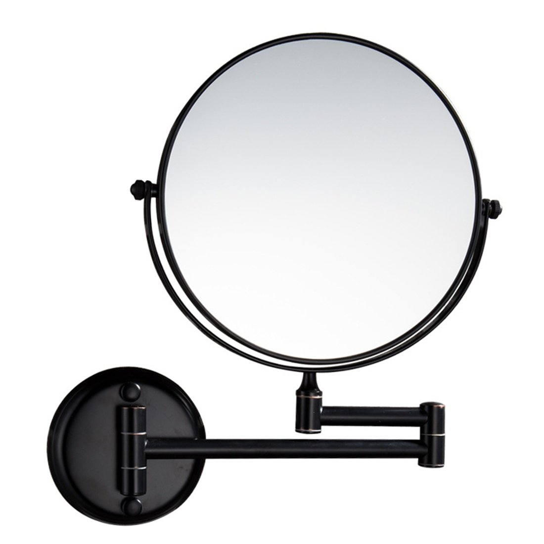 Ysayc Double-sided Makeup Mirror Wall Mounted Extendable Round Rotatory Bath Spa Hotel Table Folding Vanity Mirror, Black, 5x