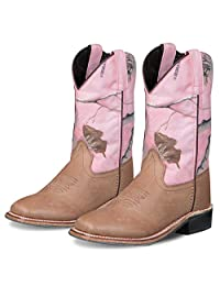 Old West Kids Pink Camo Boots Childrens 1.5