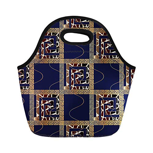 Semtomn Lunch Tote Bag Modern Geometric Check Blue 3D Gold Meander Greek Key Reusable Neoprene Insulated Thermal Outdoor Picnic Lunchbox for Men Women ()