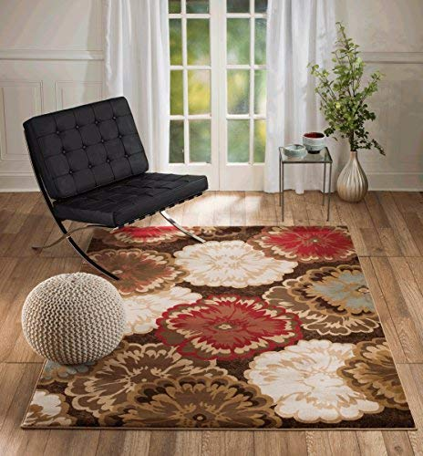 Summit Gulistan S2731 Floral Chocolate Transitional Area Rug Modern Abstract Rug (3'.8'' x 5')