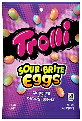Trolli Sour Brite Eggs Gummy Candy, 6.3 Ounce Bag, Pack of 8 (Best Chocolate Easter Eggs 2019)