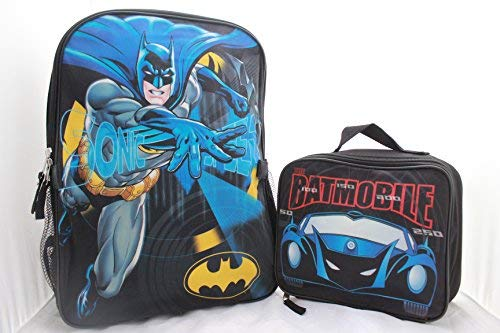 (DC Batman Boys School Backpack Bookbag Combo Set)