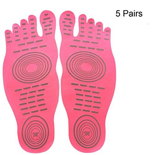 attività Rosa l'acqua piedi Stick scarpe a paia estive per nudi design zampe Rilievo per e nudi Nakefit sulle invisibili impermeabile pedonabili con antisdrucciolo amanti scarpe 5 adesivo 0ScqIwB