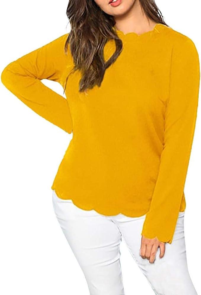 VJGOAL - Camiseta de Mujer Grande con Cuello Redondo y Manga Larga ...