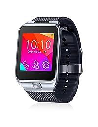 Indigi® 2-in-1 Wireless Bluetooth Smart Watch & Phone w/ Built-in Camera Pedometer Sleep Tracker FM Radio (Unlocked AT&T / T-Mobile / Straight Talk) (Silver)