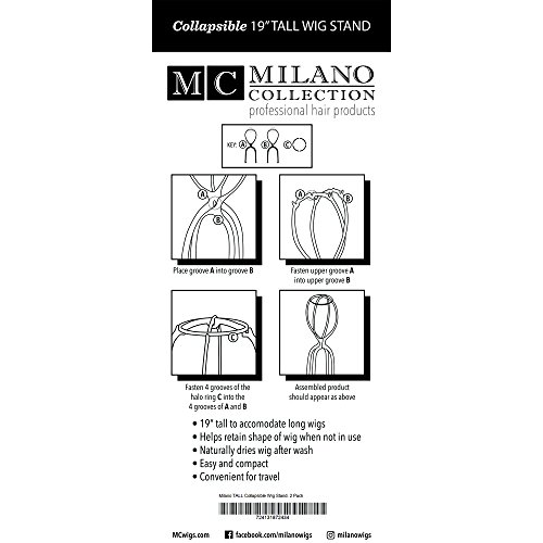 2 PACK Milano Collection 19'' Inches TALL Collapsible Travel Wig Head Secure Top - Black by MILANO COLLECTION (Image #1)