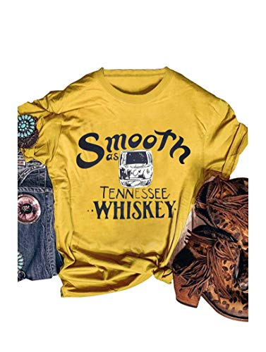 Womens Whiskey Beach Cute Tops Print Tees for Women Female Graphic Summer Short Sleeve Vavation Tshirt Size XL (Yellow)