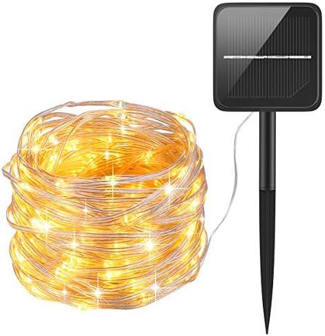最新版 LEDイルミネーションライト ジュエリーライト 100球 10m 8パターン 点滅 点灯 タイマー機能 防水 防塵仕様 屋外 室内 ガーデンライト 正月 クリスマス 飾り ストリングライト (ウォームホワイト)