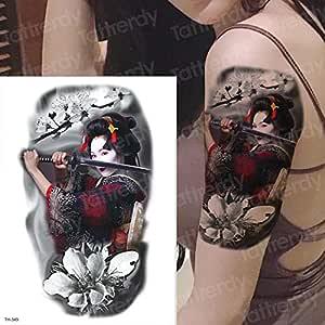 tzxdbh Gran Brazo Manga Tatuaje Impermeable Temporal Tatto Samurai ...