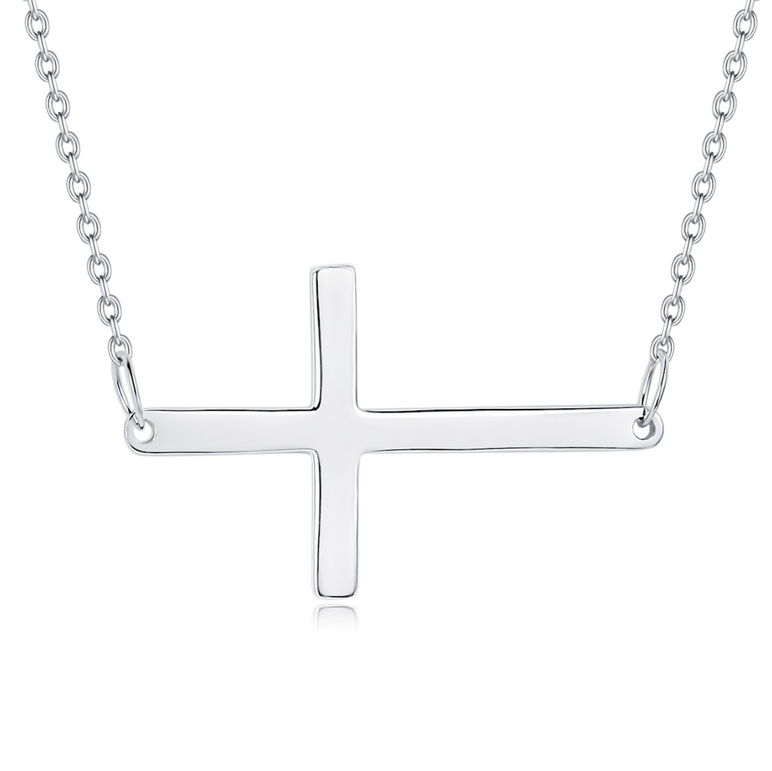 Fine Jewelry Sterling Silver Christian Cross Latin Cross Charm Pendant Necklace, 18 inches