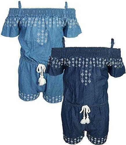 dollhouse Girl\'s Spring/Summer Denim Romper (2 Pack), Off Shoulder, Size 4'
