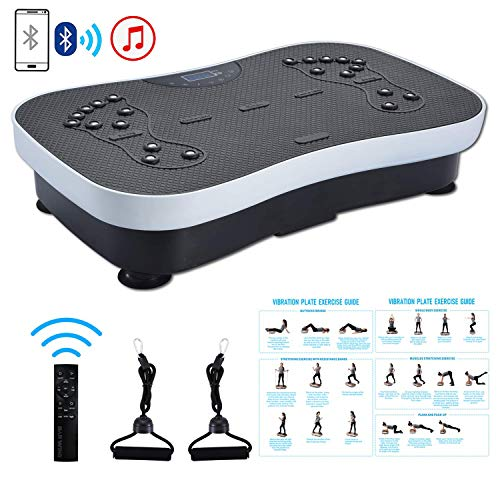 TODO Vibration Platform Power Plate Whole Body Vibrating Massager Machine Remote Control/Bluetooth Music/USB Connection/Resistance Bands