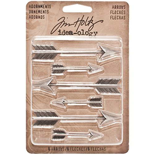 Arrows Adornments by Tim Holtz Idea-ology, 6 Charms per Pack, Various Sizes, Antique Nickel Finish, TH93127 -