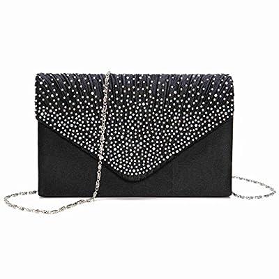 Topwigy Ladies Evening Handbag Satin Bridal Diamante Party Prom Envelope Style Clutch
