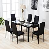 4 Family 7 Piece Dining Set with 6 Chairs Kitchen Furniture,Black