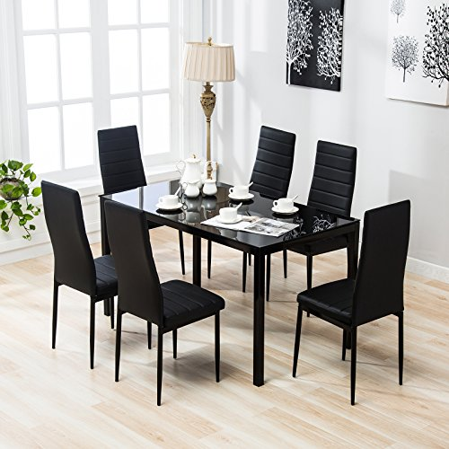 4 Family 7 Piece Dining Set with 6 Chairs Kitchen Furniture,Black by 4 Family