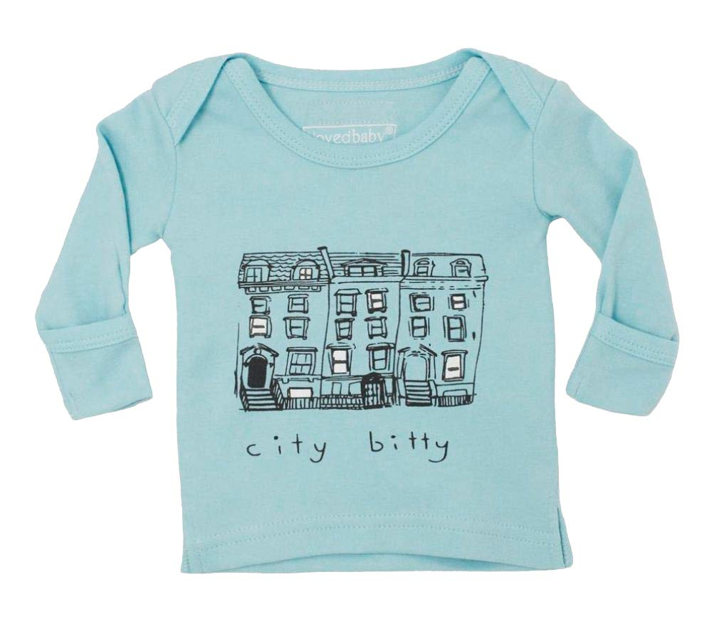 L'ovedbaby Unisex-Baby Organic Cotton Long Sleeve Shirt (Aqua City Bitty, 9-12 Months)