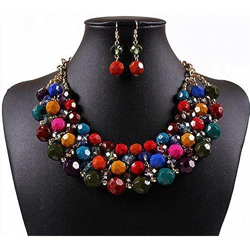 Lanue Multi Strand Beaded Bohemian Statement Necklace & Earrings Set Women Colorful Jewelry