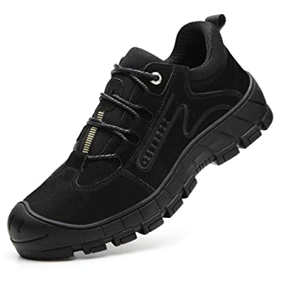 ESDY Men's Steel Toe Shoes Indestructible Safety Work Shoes Slip Resistant Industrial & Construction Sneaker Composite Toe Shoes: Shoes