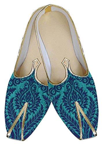 INMONARCH Hombres Zapatos de Diseñador Jodhpuri Azul MJ0060