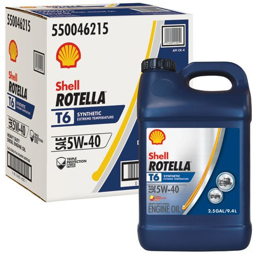 Shell Rotella T6 Full Synthetic Heavy Duty Engine Oil 5W-40, 2.5 Gallon Jug, Pack of 2 by Shell Rotella T