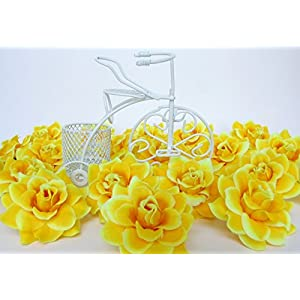 """(50) Silk Yellow Roses Flower Head - 1.75"""" - Artificial Flowers Heads Fabric Floral Supplies Wholesale Lot for Wedding Flowers Accessories Make Bridal Hair Clips Headbands Dress 3"""