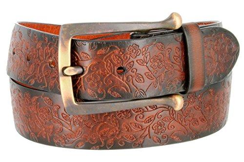 Full Leather Vintage Floral Engraved Tooled Casual Jean Belt from Belts.com